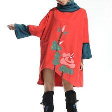 Création! Manteau poncho doublé folk original asymétrique rouge T.38-42 11249082
