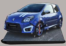 MODEL CARS, RENAULT TWINGO GORDINI - 01 avec horloge 11,8x 7,8 in en aluminium et