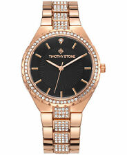 Timothy Stone Women's 'Gala' Crystal Accented Rose Gold & Black Watch