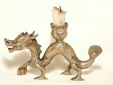 "DRAGON CANDLESTICK ""SILVER PLATED BRONZE"" 15 X 8.5 X 1.5CM  ""NEW"" AUZ SELLER"