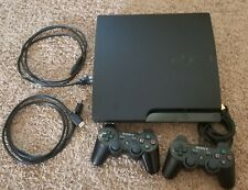 Sony Playstation 3 PS3 Slim160GB CECH-3001A Black Console/ 2 Controllers + cords