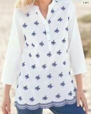 Damart White / Blue Embroidered Tunic Blouse Size 22 (J10)