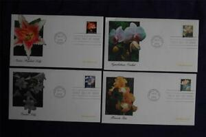 Four Flowers ND (34c) Stamps 4 FDCs Fleetwood Sc#3462-65 FW742 SA Coil Orchid