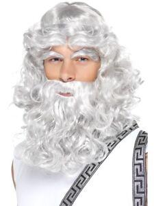 Roman Greek God Zeus Wig Beard Eye Brows Long Grey Mens Fancy Dress