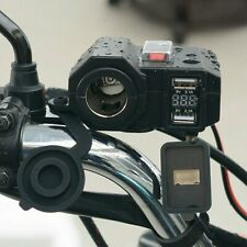Motorcycle Cigarette Lighter Socket Outlet Dual USB Charger LED Voltmeter+Switch
