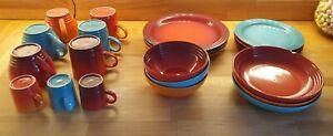 Le Creuset Plates, Bowls, mugs, cups and espresso mugs. Volcanic, teal, cerise