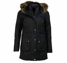 NWT Barbour Women's Olive Thrunton Waxed Cotton Faux Fur Trim Hooded Jacket Sz 4