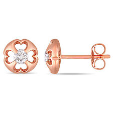 Amour 10k Rose Gold Diamond Heart Floral Solitaire Stud Earrings