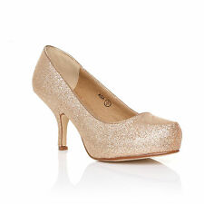 Womens Mid Heel Casual Smart Work Pump Ladies Court Shoes Size 3-8 Gold Glitter 36 UK 3