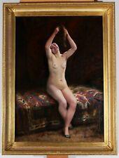 Ernest CHATEIGNON femme nue tableau chat érotique