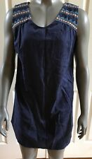 Solitaire Shealth Mini Dress Sleeveless Navy Blue Floral Embroidered Size Small