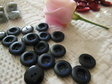 lot 18 boutons vintage petits bleu foncé  1,3 cm 2 trous ancien ref 1685