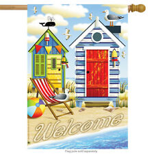 """Beach Haven Welcome Summer House Flag Buoy Sand Seagull Nautical Shell 28 x 40"""""""