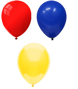 25cm Party / Birthday Balloons - Multipack - Red, Royal Blue & Yellow