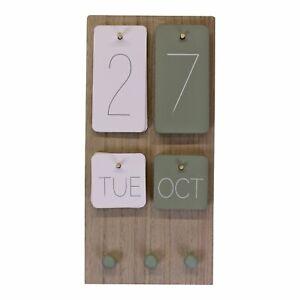Wall Hanging Wooden Calendar & Kitchen Towels Hooks & Interchangeable Dates Days