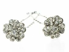 2 Silver Clear Crystal Flower Cluster Hair Pins Wedding Bride Prom Bridesmaid