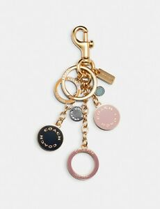 NWT Coach Circle Cluster Enamel Bag Charm Key Chain Gold Tone 1596