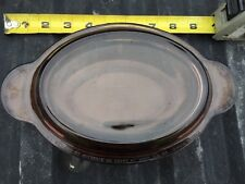 "8"" Corning Ware Amber Vision Grab It Oval V-14-B Bottom and Pyrex Lid P-14-C"