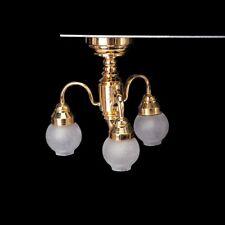 1:12 Casa delle bambole ottone lampadario 3 Braccio LED Lampada da soffitto M1W5