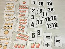 Apple & Oranges Math -Laminated Cards Set Counting. 1-20 Addition Preschool K1