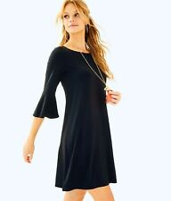LILLY PULITZER Black Bell Sleeve OPHELIA Swing Fit Flare Stretch Dress XS 0/2