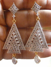 Genuine Cubic Zirconia AD Gold Plated All Time Wear Indian Dangler Earrings 5cm3