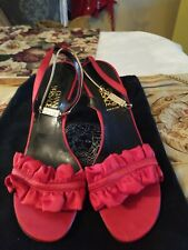 Gianni Versace Women's red satin  Ankle Strap Sandals Size 7.5 (EUR 37.5). Nice
