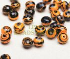 10pcs 10mm Stripes Rondelle Faceted lampwork Glass Loose Beads Orange Yellow