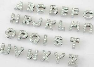 """26 Full Rhinestone Alphabet """"A-Z"""" Charm Letter For 10mm Leather Band Jewellery"""