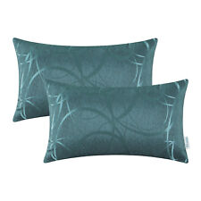 Set of 2 Teal Cushion Covers Pillow Cases Reversible Striped Circle Sofa 30X50cm