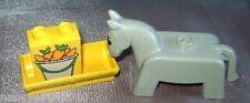 Lego Duplo Tiere Bauernhof Esel Pferd grau Futtertrog Motivstein Karotten pony