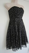 Broadway & Broome by J.CREW Polka Dot 100% Silk Pleated Strapless Dress ~ Size 0