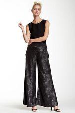$395 NWT Nuvula Sequin Front Wide Leg Black Pants, sz.M