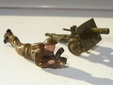 (W) BRITAINS / BENBROS MILITARY ARMY CANNON & SOLDIER