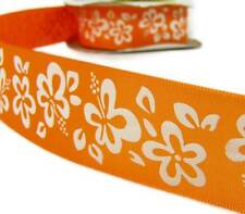 "5 Yds FLAWED Orange Hibiscus Tropical Flower Ribbon 1 1/2""W"