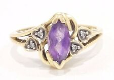 10k Solid Gold Amethyst Ring Diamond Heart Detail Can Be Sized Free Shipping