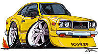 RX-3 Yellow Cartoon T-shirt wankel mazda rx3 sp rotary available in sizes S-3XL
