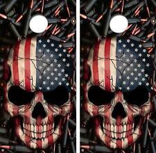 American Skull Black Bullets Style Cornhole Board Skin Wrap FREE SQUEEGEE
