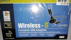 New In Box Linksys Model WUSB54GP Wireless-G Portable USB Adapter.