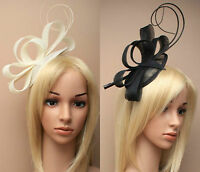 Cream Black Headband Aliceband Hat Fascinator Wedding Ladies Day Race Ascot