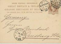 "2404 1879 QV 1d brown postcard Duplex-cancel ""LONDON / 18"" code P POSTMARK-ERROR"