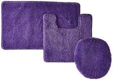 NEW 3-Piece Solid Bathroom Set Bath Mat Contour Rug Toilet Lid Cover - Purple