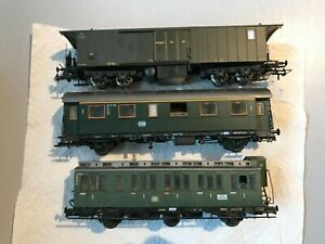 3 HO ROCO / Brawa DB Green Coaches 45051B 4203A Personenwagen Baggage Car