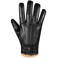 Men Premium Lambskin Leather Winter Driving Motorcycle Warm Cashmere Gloves