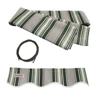 ALEKO Fabric Replacement For 6.5x5 Ft Retractable Awning Multistripe Green Color