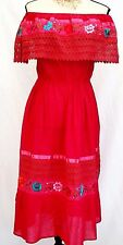 Mexican Dress Fuchsia Floral Hand Embroidered Crochet Peasant Cotton Gauze L/XL