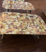 Set of 2 Vintage Retro Metal TV Lap Bed Trays Folding Legs Floral Flowers 1960s