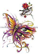 "US SELLER, wrist bracelet evil eye butterfly 8.25"" large arm temporary tattoo"