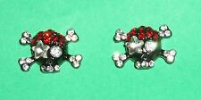 Skull Crossbones Crystal Earrings NEW Black Red Goth Pierced Clear Pirate