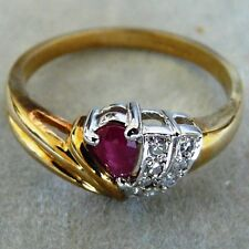 ** NEW ** 9ct Gold Ruby Diamond Fan Design Cocktail Ring Size Q 8